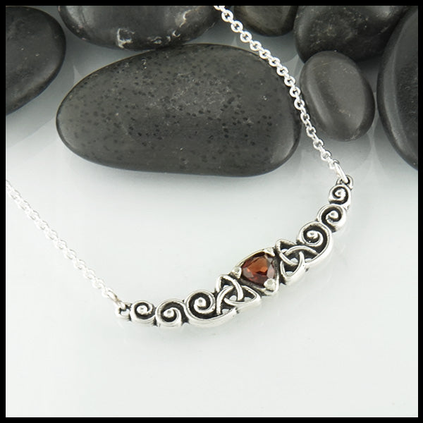 Trinity Scroll Bar Pendant in Silver