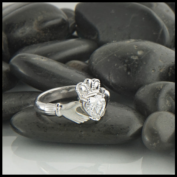 Moissanite Claddagh Ring designed by Walker Metalsmiths Celtic Jewelry