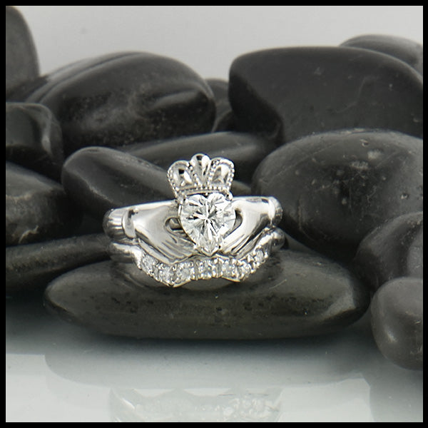 Walker Metalsmiths handcrafted Moissanite Claddagh Wedding Set