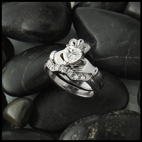 Heart Moissanite Claddagh Ring Handcrafted by Walker Metalsmiths