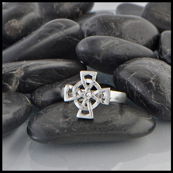 Equal Arm Cross Ring in Silver