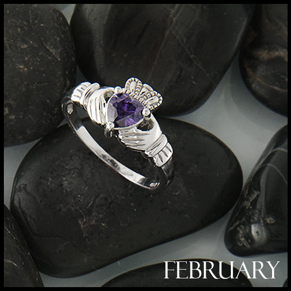 Febuary Claddagh Birthstone Ring in Silver Handcrafted by Walker Metalsmiths
