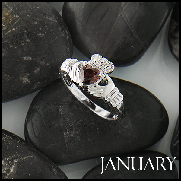 January Claddagh Birthstone Ring in Silver Handcrafted by Walker Metalsmiths