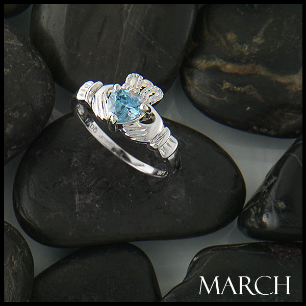 March Claddagh Birthstone Ring in Silver Handcrafted by Walker Metalsmiths