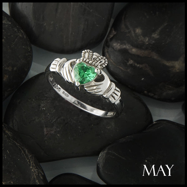 May Claddagh Birthstone Ring in Silver Handcrafted by Walker Metalsmiths