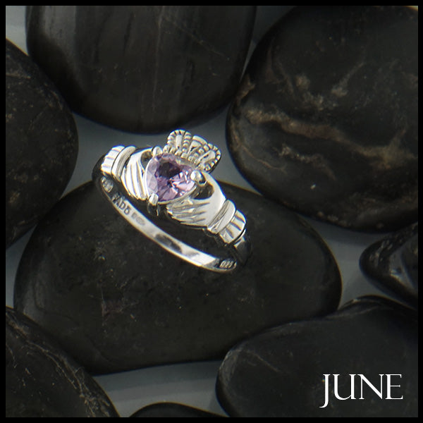 June Claddagh Birthstone Ring in Silver Handcrafted by Walker Metalsmiths