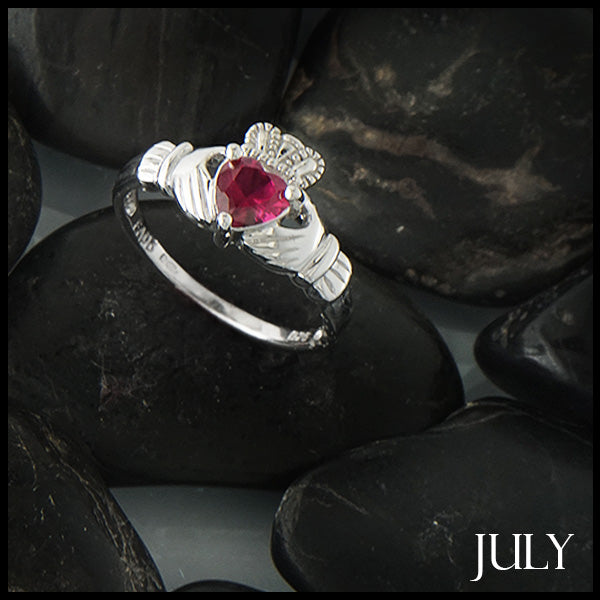 July Claddagh Birthstone Ring in Silver Handcrafted by Walker Metalsmiths