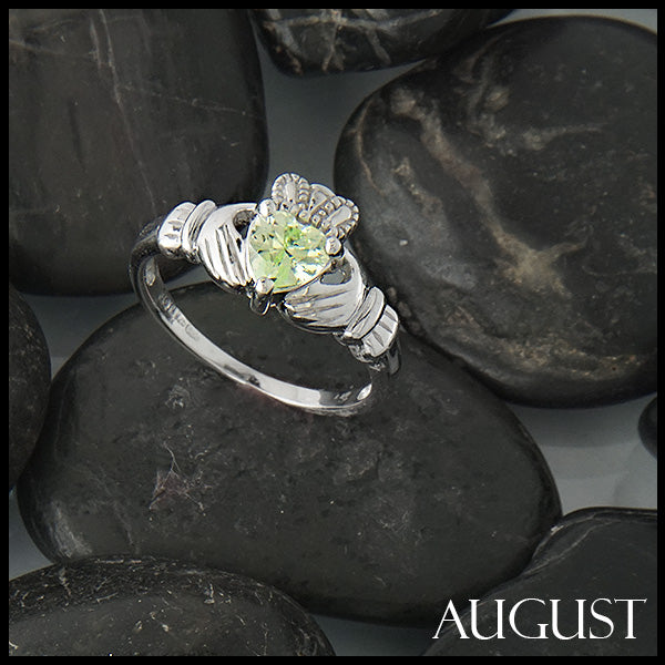 August Claddagh Birthstone Ring in Silver Handcrafted by Walker Metalsmiths