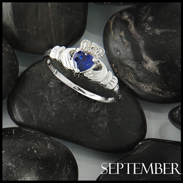 September Claddagh Birthstone Ring in Silver Handcrafted by Walker Metalsmiths
