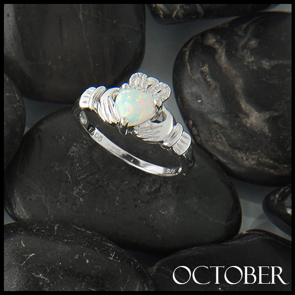 October Claddagh Birthstone Ring in Silver Handcrafted by Walker Metalsmiths