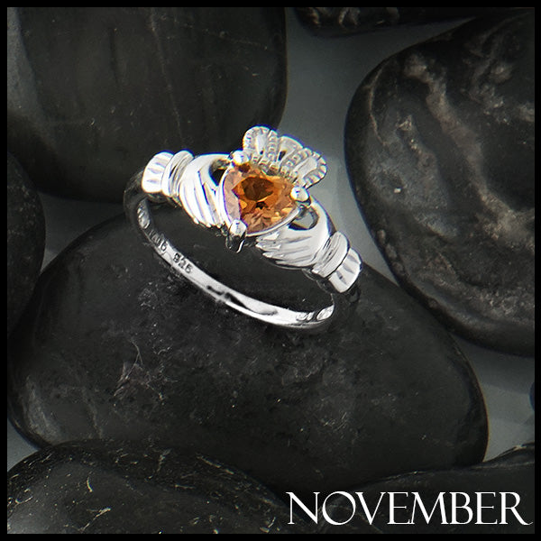 November Claddagh Birthstone Ring in Silver Handcrafted by Walker Metalsmiths