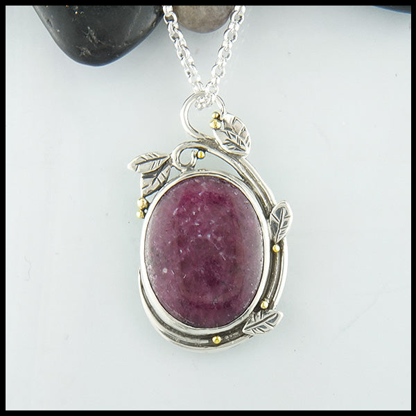 Ruby Gemstone and Ivy Pendant