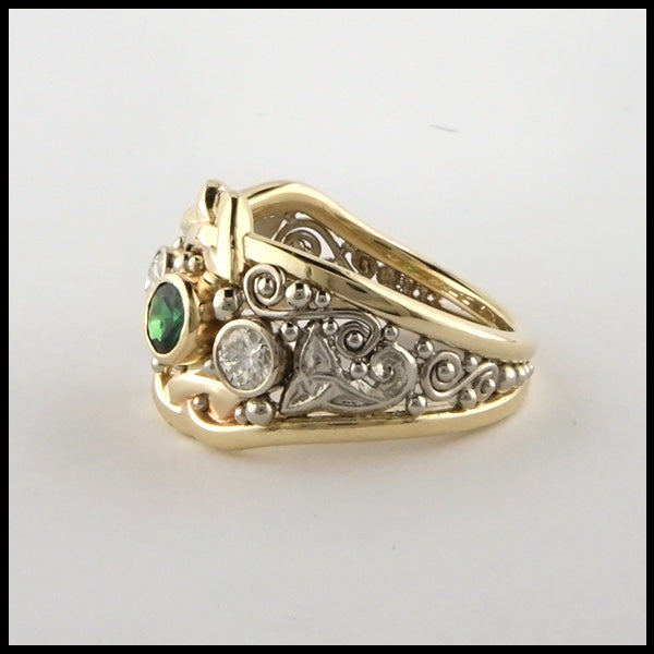 Custom Tsavorite and Diamond Celtic Ring