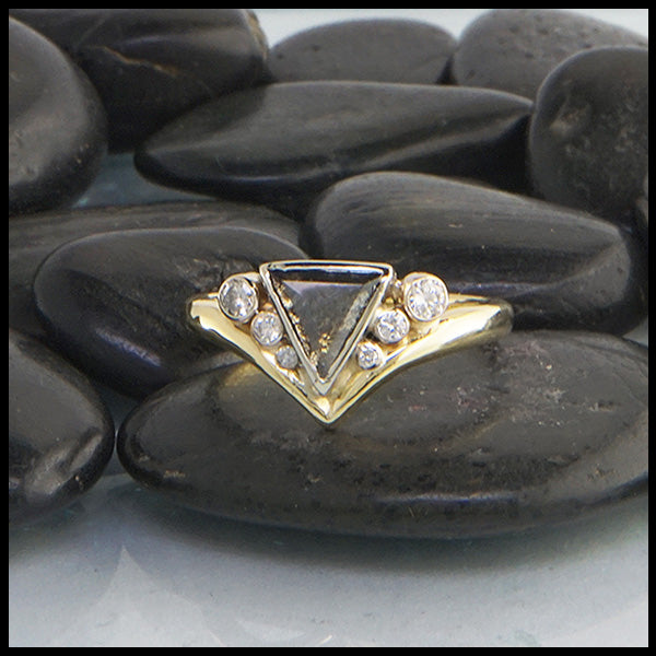 Triangle salt and pepper diamond ring