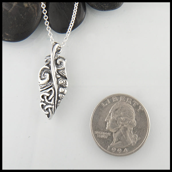 dainty feather pendant