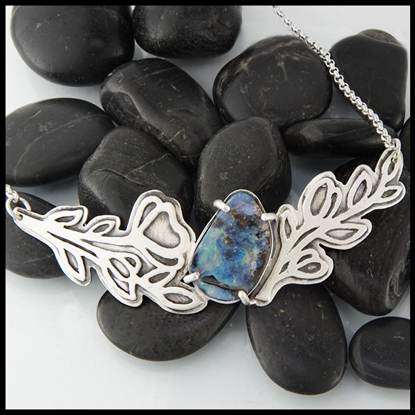 Laurel Necklace with Opal by Walker Metalsmiths