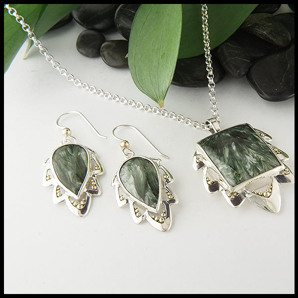 Walker Metalsmiths Custom Seraphinite Pendant and Earring Set