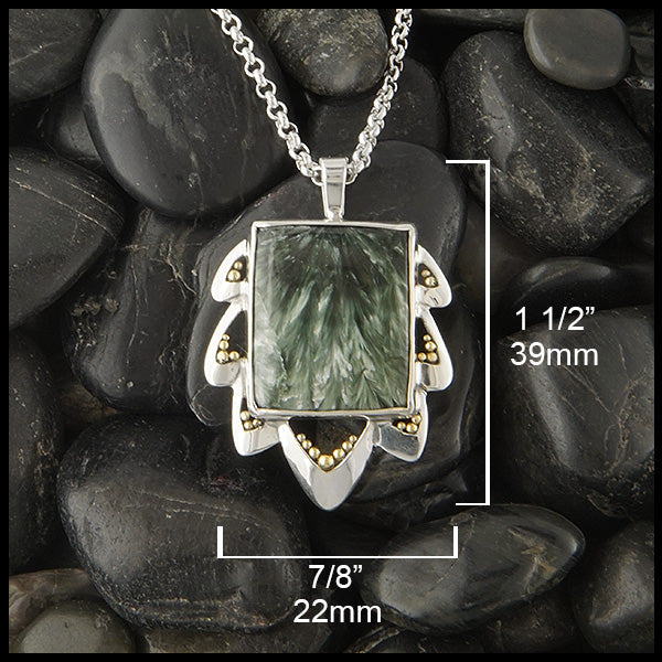 Seraphinite Pendant with Leaf Detail by Walker Metalsmiths