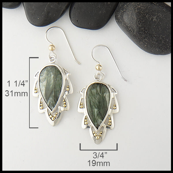Seraphinite teardrop earrings by Walker Metalsmiths