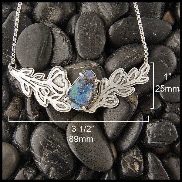 Custom Opal Necklace with Leaf Detail by Walker Metalsmiths