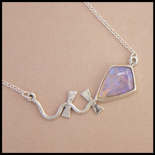 Opal Kite bar necklace in Sterling Silver