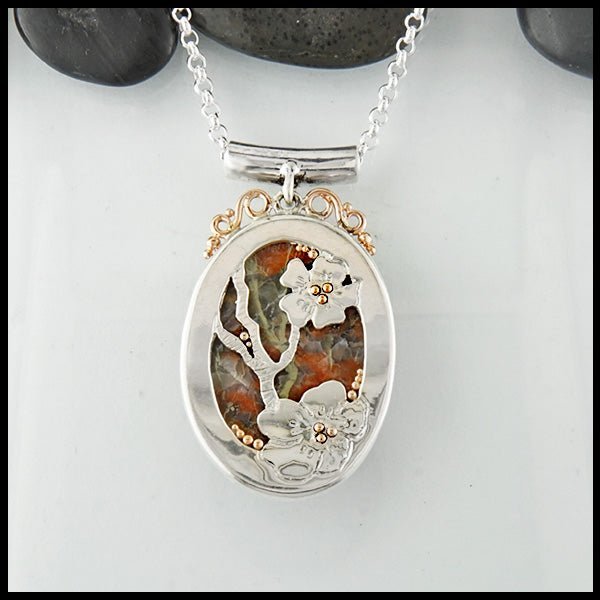 Floral Iona Bloodstone Pendant