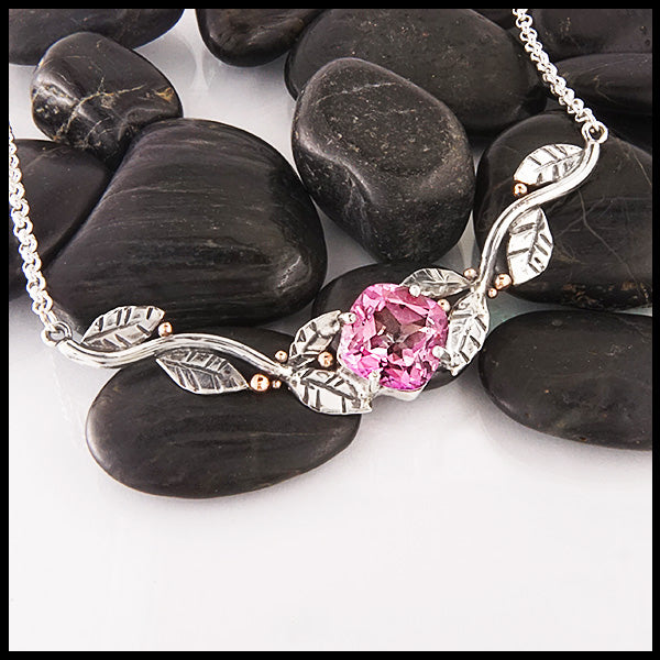 Pink Topaz Bar Necklace