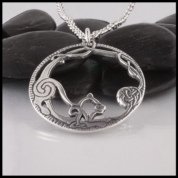 Celtic Cat Necklace in Sterling Silver