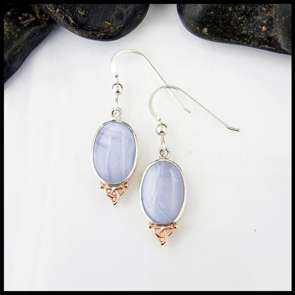 Blue Agate Trinity Knot Earrings