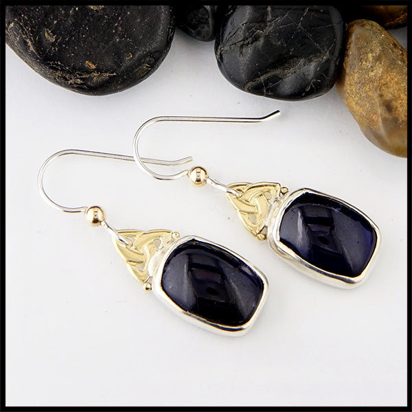 Iolite and Trinity Knot Earrings