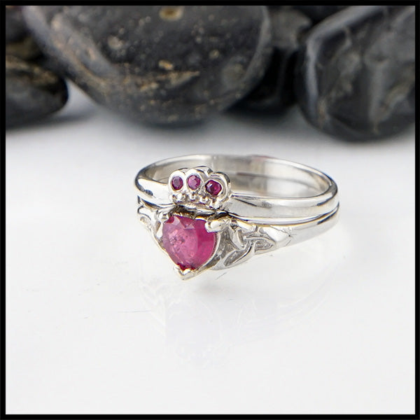 Ruby Claddagh Two Ring Set