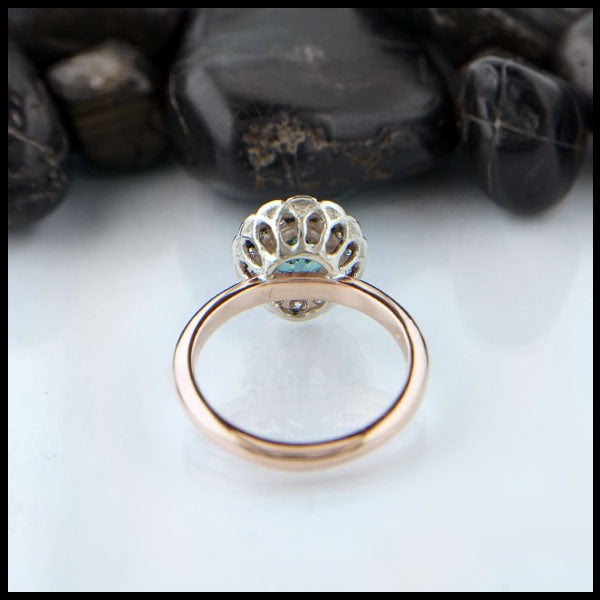 Underside view of Scalloped halo engagement ring