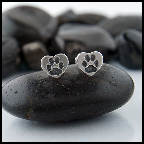 Heart Paw Print Earrings by Walker Metalsmiths