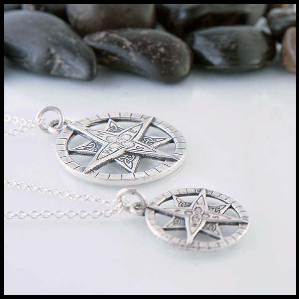 Silver celtic compass pendant in sterling silver