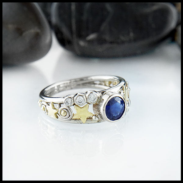 Sapphire ring with diamond accents