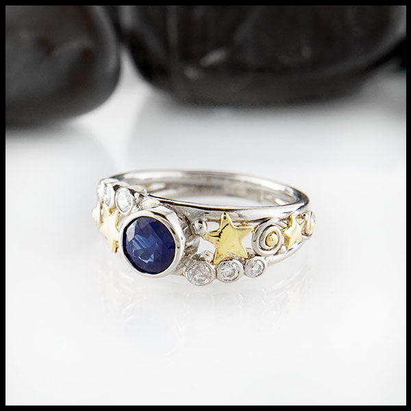Sapphire Star Ring by Walker Metalsmiths