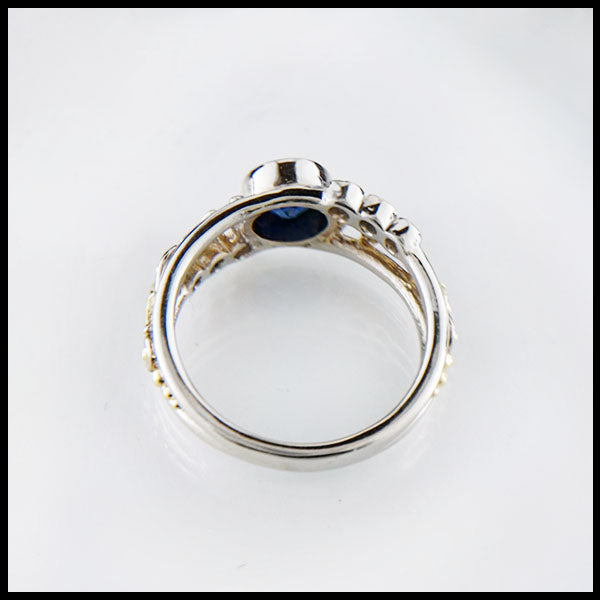 Starry Sky Frame Sapphire and Diamond Frame Ring