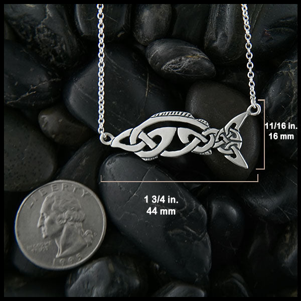 1 3/4 inch long Celtic Salmon Pendant in Sterling silver