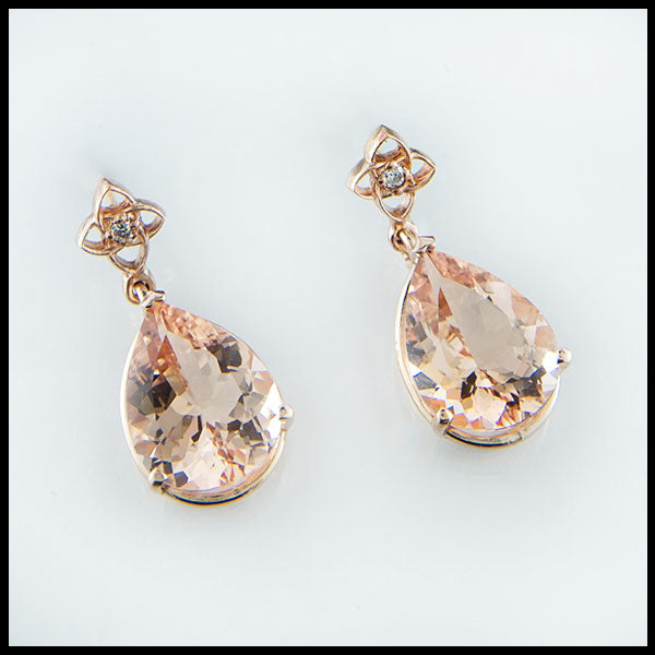 Morganite Rose Gold Rain Drops