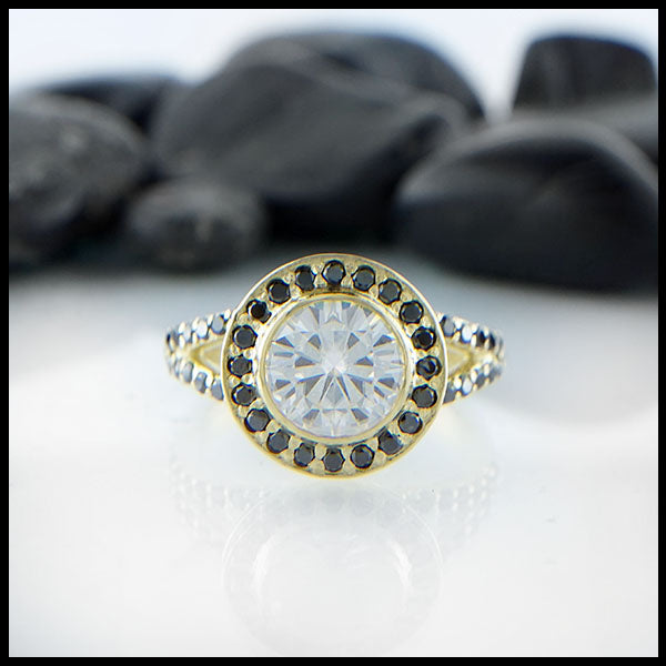 Moissanite Halo Ring by Walker Metalsmiths