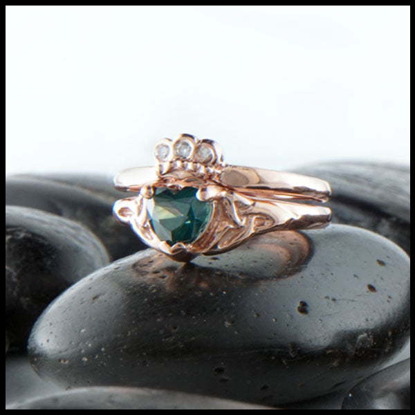 Evergreen Topaz Claddagh Ring Set