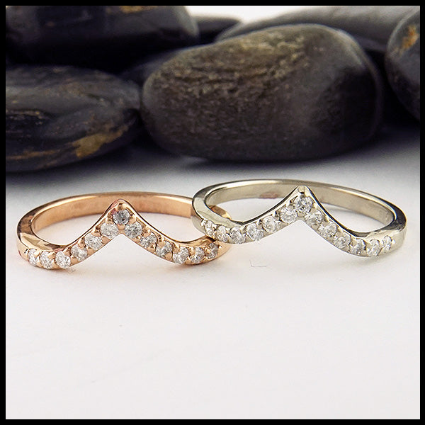 Chevron Stacking Bands with Diamonds
