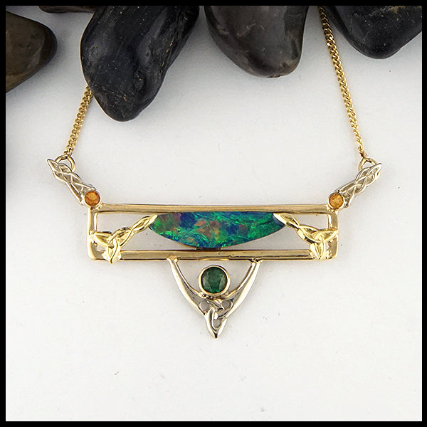 Opal and Tsavorite Custom Bar Pendant