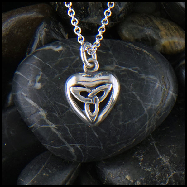 Sterling Simple Heart Pendant with Trinity Knot
