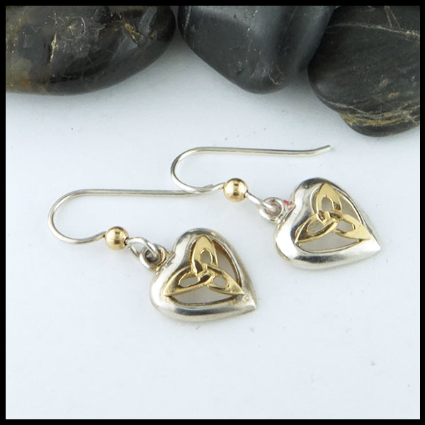 Celtic Heart and Trinity Danielle Earrings in Silver and Gold