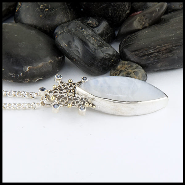 Moonstone and Snowflake Celtic Pendant