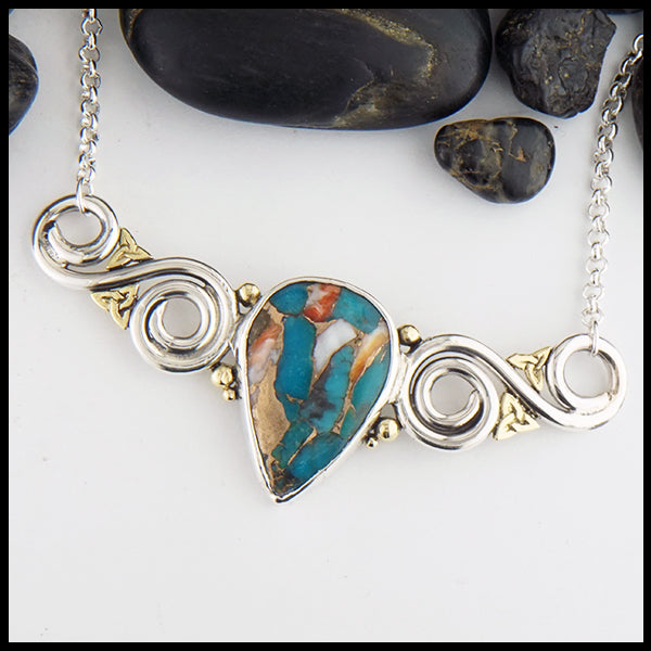 Oyster Turquoise Bar Pendant