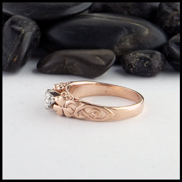 Shamrock Cathedral Ring in Rose Gold with Reclaimed Diamond