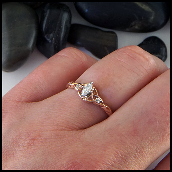 Marquise Reclaimed Diamond and Trinity Ring in Rose Gold
