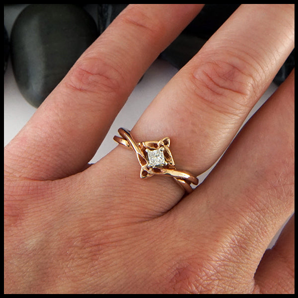 Princess Cut Reclaimed Diamond Interlocking Ring in Rose Gold